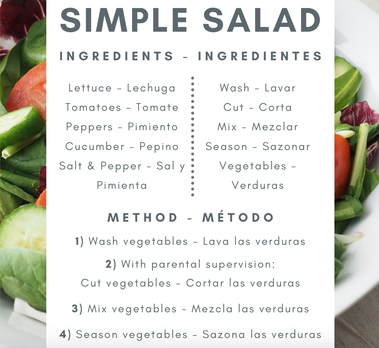 Tips to Incorporate Languages at Home Salad Recipe in Spanish